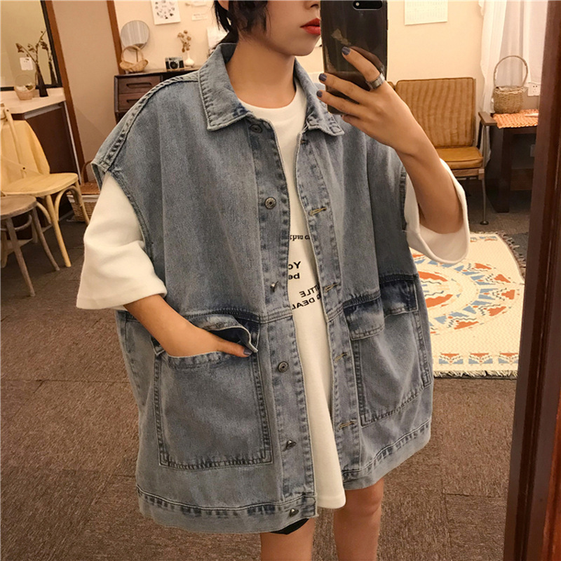 Autumn & Winter New Style Denim Waistcoat Women's Size Sleeveless Jacket Korean-style Loose And Plus-sized Popular Waistcoat On