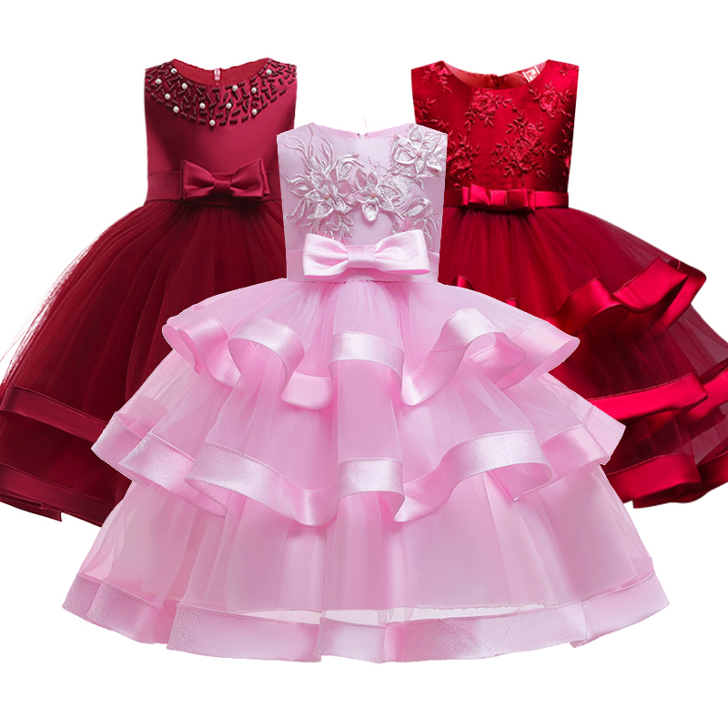 Pink Girl Bridesmaid Wedding Party Dress Temperament Girl Romantic Attendance At Ball Dinner Red Blue Embroidered Dress Vestido