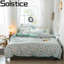 Solstice บ้านสิ่งทอดอกไม้สไตล์ชนบทชุดเครื่องนอนเด็กหญิงผู้ใหญ่ผ้าลินินนุ่มผ้านวมปลอกหมอนผ้าปูที่นอน Queen