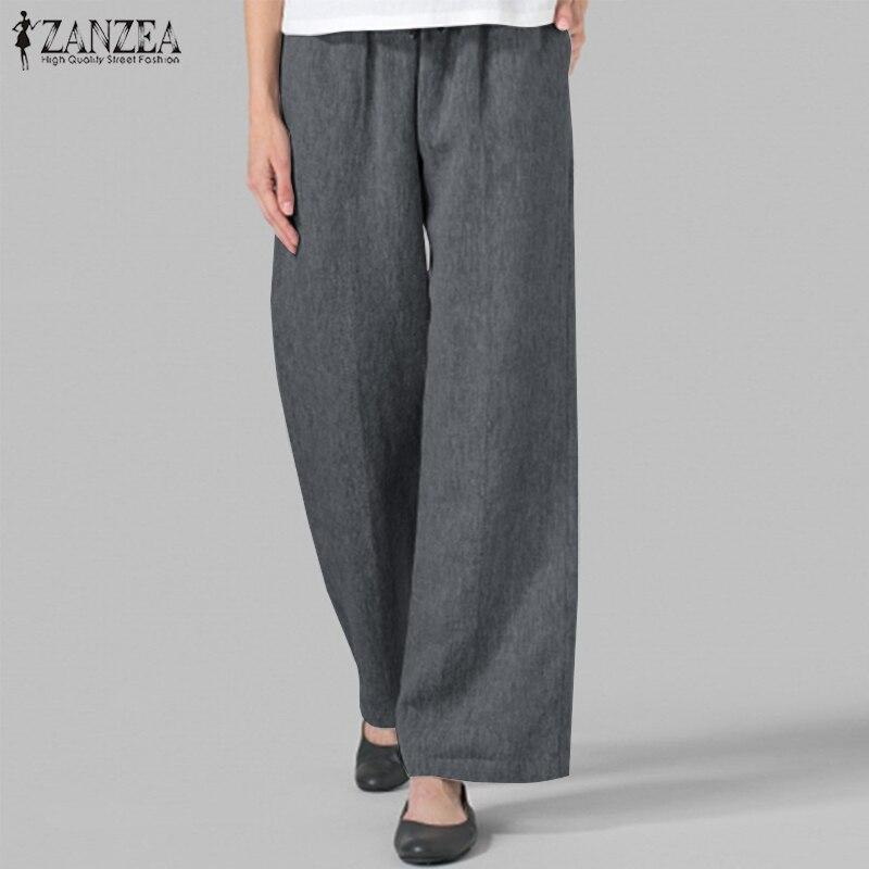 Women Long Harem Trousers ZANZEA 2019 Autumn Casual Loose Pantalon Vintage Solid Lace Up Elastic Waist   Wide     Leg     Pants   Femme 5XL