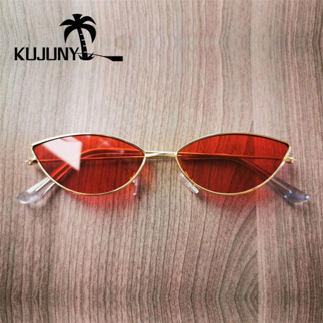 KUJUNY Women Cat Eye Sunglasses Cute Sexy Brand Designer Glasses Summer Retro Small Frame Black Red Cateye Sun Glasses 6