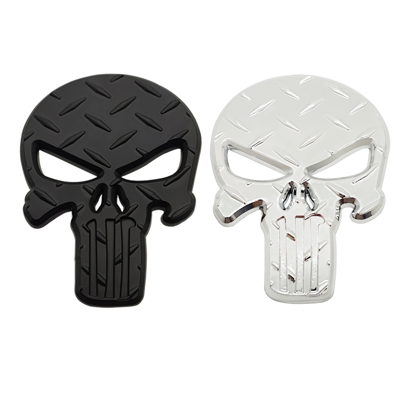 cheapest 3D Metal The for Punisher Skull Skeleton Car Motorcycle Body Emblem Badge Fashion Decoration Automobile Styling Car accessories