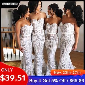 White Strapless Sequined Maxi Dress Floor Length Stretch Empire Sleeveless Mermaid Dress
