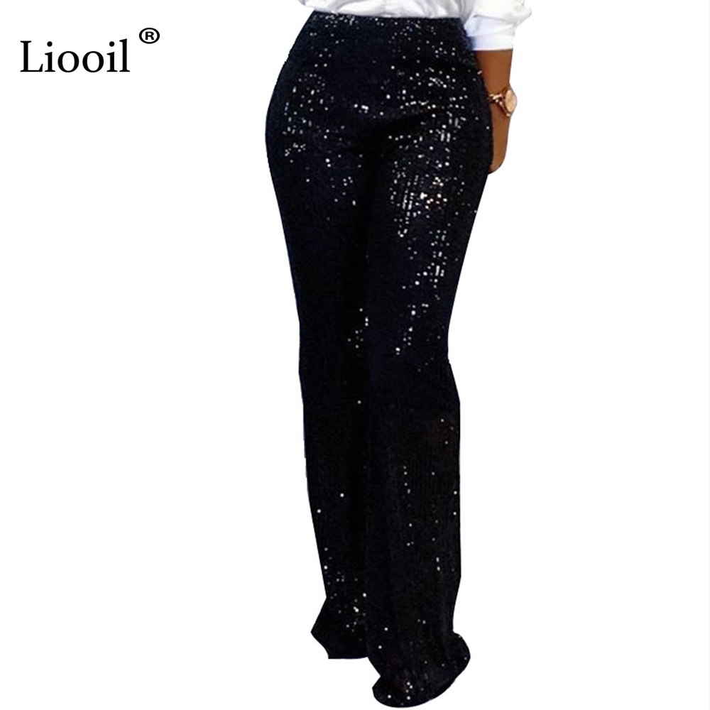 Liooil Silver Sequin High Waisted Straight   Wide     Leg     Pants   Women Black Slacks Fall 2019 Sexy Ladies Trousers Loose Club Long   Pant