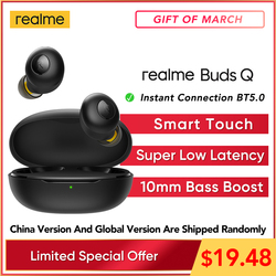 Original realme Buds Q TWS Wireless Headphones In-ear Earphones Touch Control 20 Hours Battery Bluetooth 5.0 IP5 Water resistant