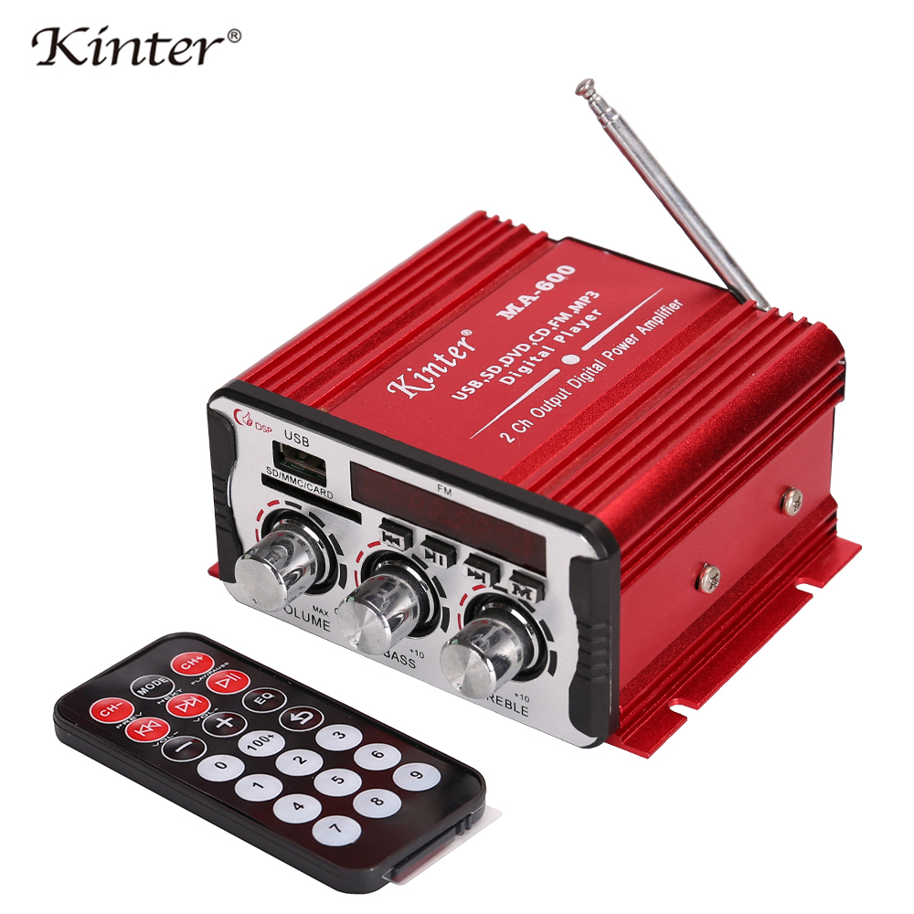 Image 5 - Kinter MA 600 Mini Amplifier Audio with FM Radio 2CH Bluetooth Amplifiers DC12V SD USB Input Play Stereo Sound Super Bass-in Amplifier from Consumer Electronics