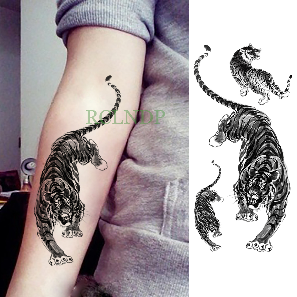 Waterproof Temporary Tattoo Sticker Tiger Animal Fake Tatto Flash Tatoo Leg Arm Hand Foot Tatouage For Men Girl Women Lady