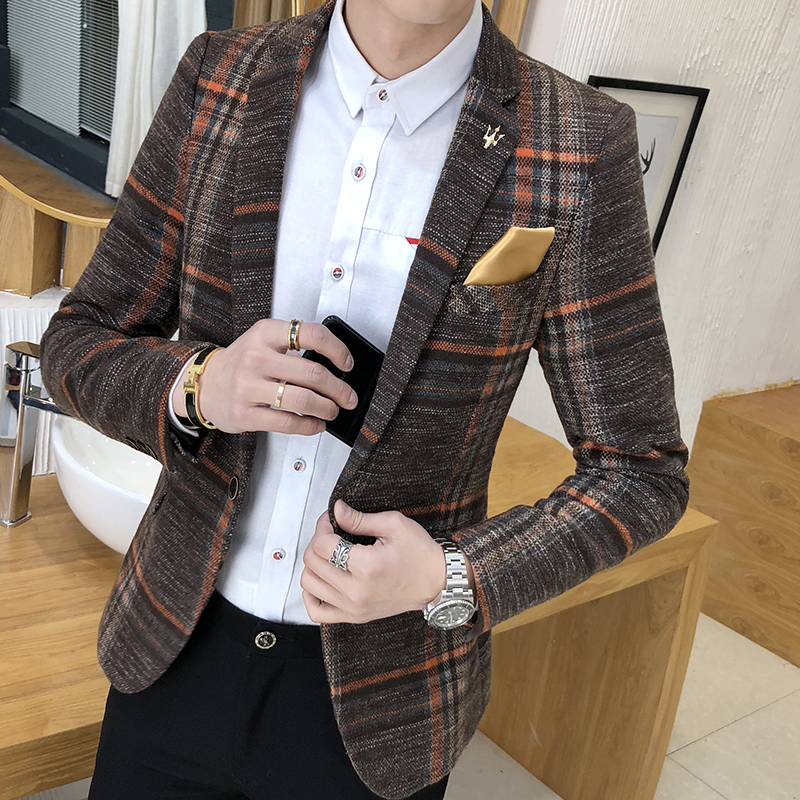 Men's Blazer Slim Design Korean Style Elegant Men's Blazer Comfortable Quality Masculino Button Wedding Casual Men's Blazer