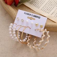 Fashion New Pearl Drop Earrings For Women girl C shape semicircle Dangle Earring 2020 New Gold earrings Jewelry Gift