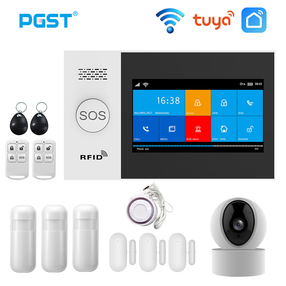 PGST PG107 Wireless Home WIFI GSM Security Alarm System 433MHz Alarm Kits With Motion Sensor RFID IP Camera Burglar Alarm System