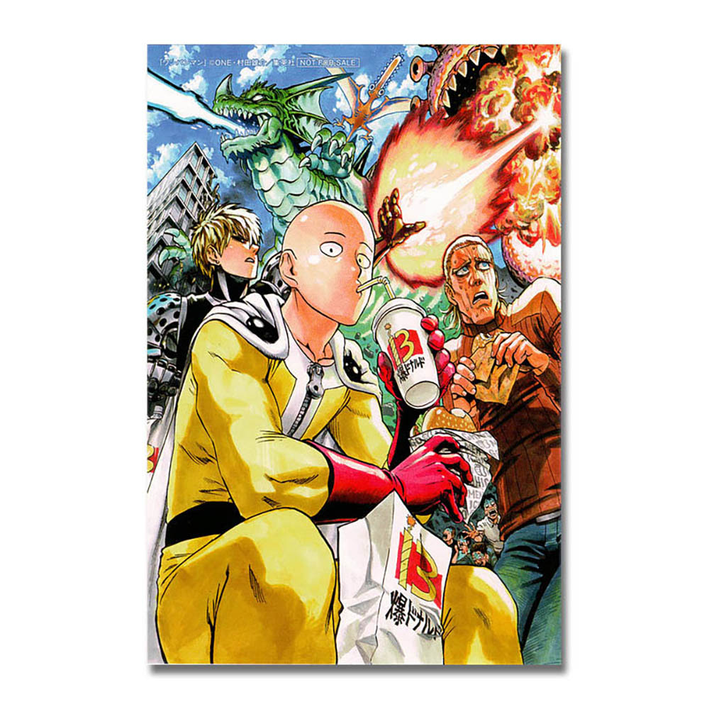 ONE PUNCH MAN Japanese Anime Silk Fabric Poster 13x20 inch Saitama Genos 008