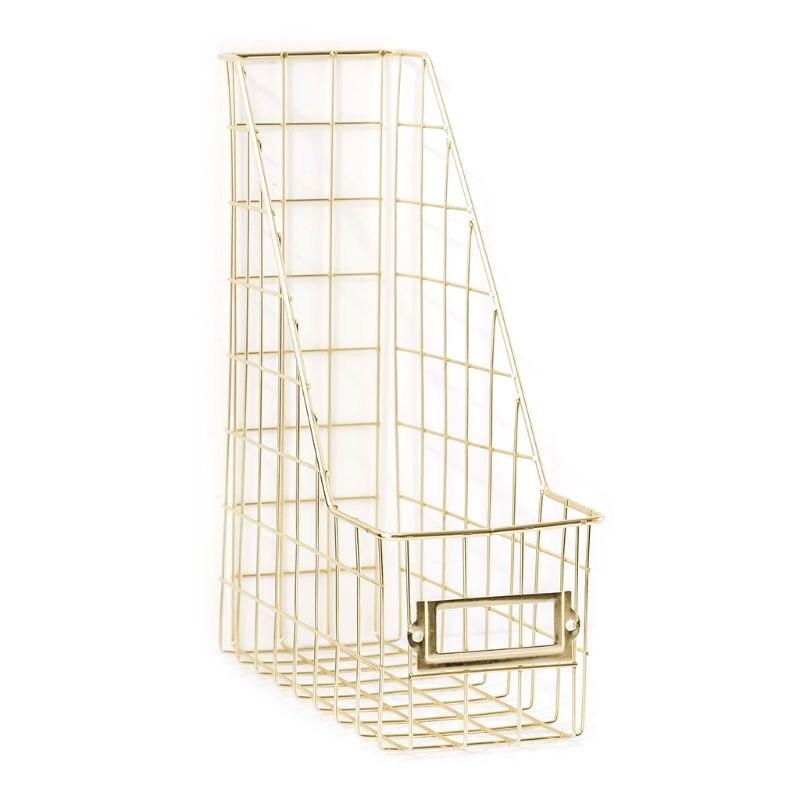 Nordic Wrought Iron Grid File Holder Single Layer Desk Shelf Magazine Book Storage Rack Organizer