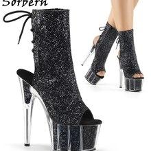 Sorbern Black Sequins Glitter Women Boots Peep Toe Shoes Lac