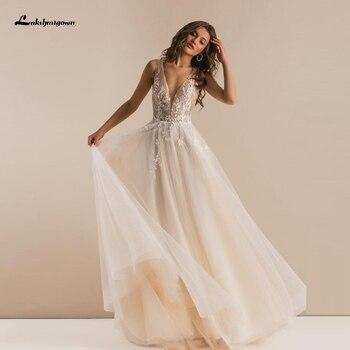 Vestido de Encaje Vintage Bohemia boda de tul, escote en V profundo