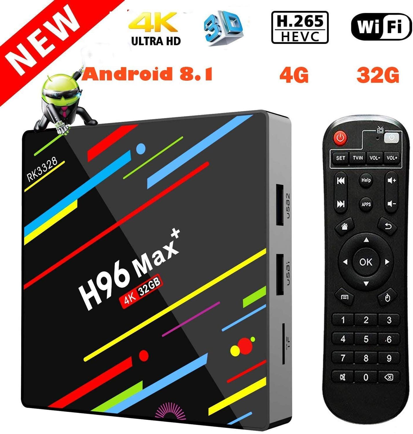 Android 9.0 TV BOX H96 MAX PLUS Optional Air Mouse RK3328 Quad Core 4GB DDR3 64GB EMMC WiFi 2.4G/5G KDMC18.0