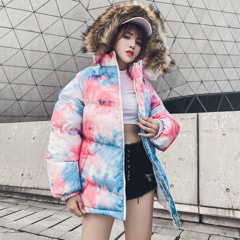 2020 hiver grande fourrure à capuche Parka ample Hip Hop Streetwear manteau surdimensionné mi-long vêtements d'extérieur rembourrés col de fourrure veste femmes