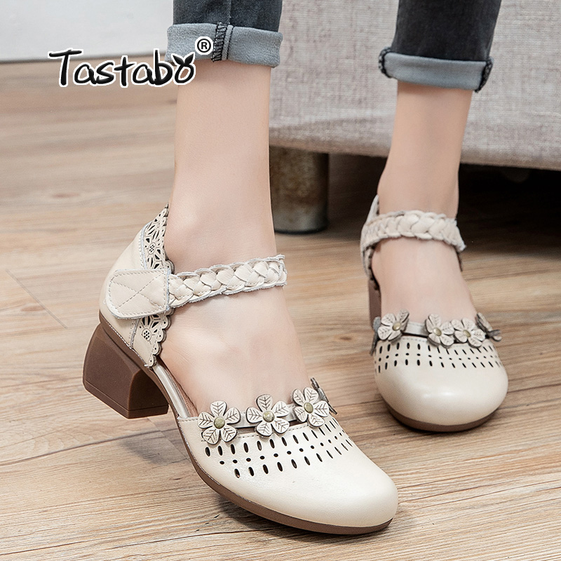 Tastabo hollow Dress shoes 2021 New Genuine Leather Mesh Pumps Sandals Female Square Toe high heel Lace Up Cross-tied Stiletto