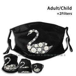 Masque de bouche réutilisable lavable de cygne de perle avec des filtres pour l'adulte d'enfant