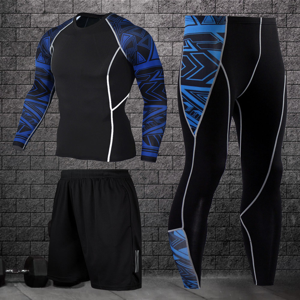 Men's training clothes quick-drying compression sportswear gym fitness clothes running jogging sportswear exercise football