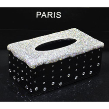 Bling Bling Champagne White Rhinestone Crystal Tissue Box Cover Case Shiny Napkin Holder for Car and Home Interior Accessories