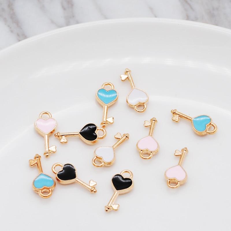 30pcs/lot New Heart Shape Key Enamel Pendant Carousel Charms for DIY Bracelet Necklace 2