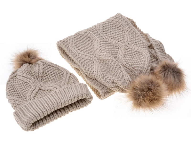 Knit Scarf Hat Set Autumn Winter With Hair Ball Diamond Pattern Wool Knit Scarf Hat Set 2018 New Vcqy