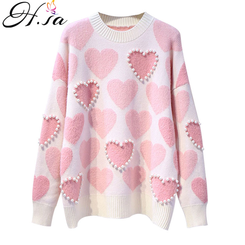 H.SA Women Knitted Sweater And Pullovers Oneck Pearls Beading Sweaters Sweet Heart Pull Jumpers Long Sleeve Kawaii Pull Femme