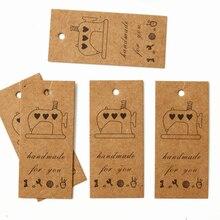 50 Uds. Máquina de coser Vintage DIY etiqueta kraft para regalo de fiesta de boda mensaje regalo etiqueta colgante Etiqueta de tarjetas artesanales cuerda de cáñamo incluida