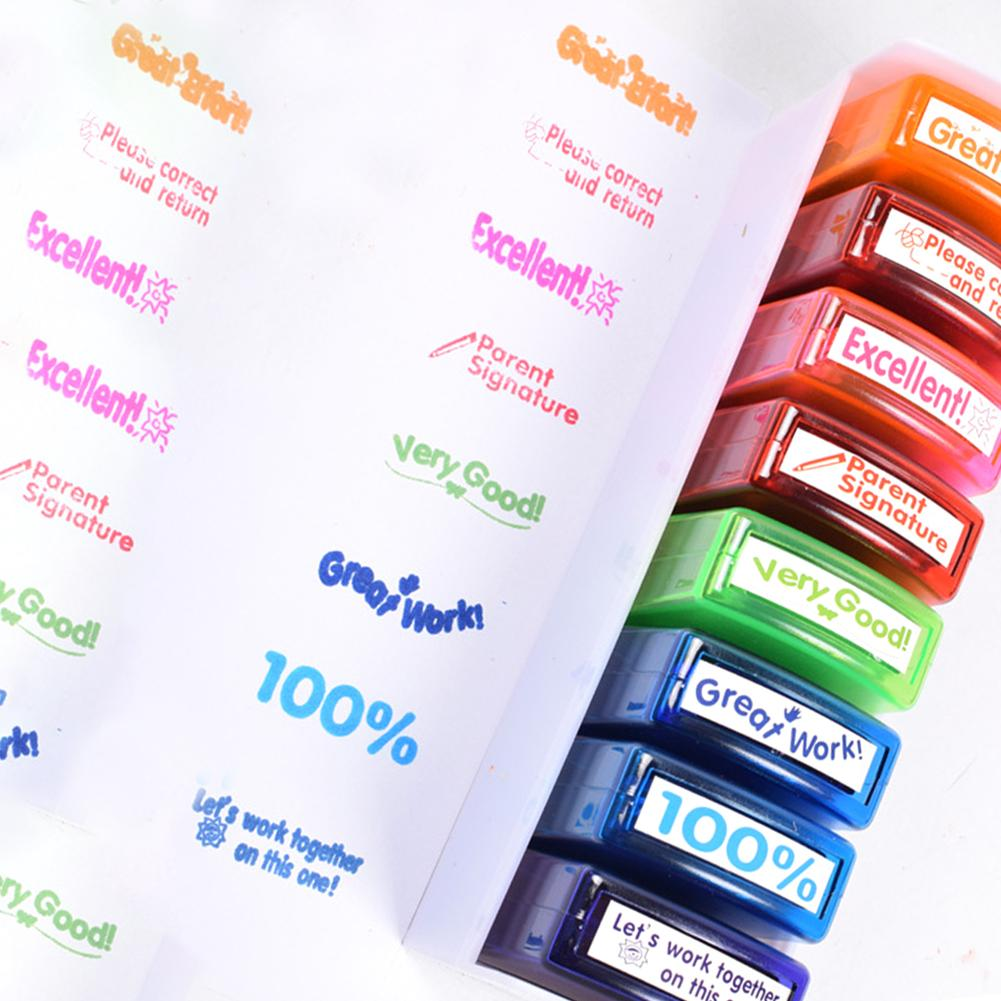 8pcs Colorful Teacher Seal Set School Grading Teacher Stamp For Children Kids Christmas Gift Children Toys