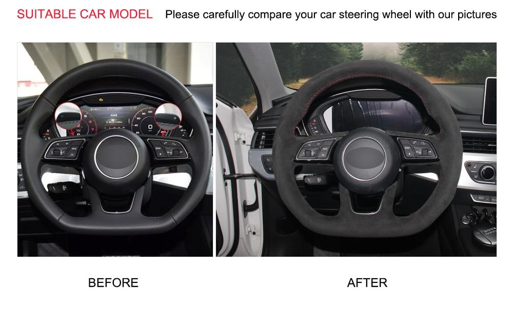 Color : Black thread Couverture de volant de voiture cuir de fibre de carbone noir daim couverture de volant de voiture for Audi TT 2008-2013