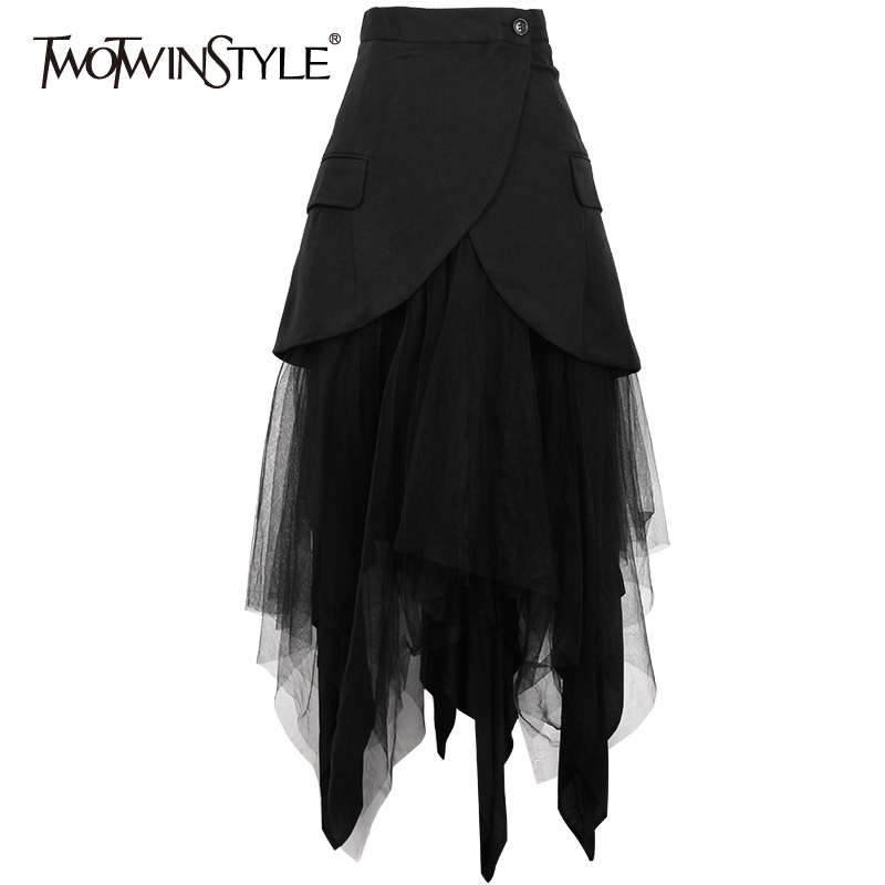 TWOTWINSTYLE Asymmetrical Patchwork Mesh Skirt For Women High Waist Plus Sizes Skirts Female Fashion Clothes 2020 Spring New