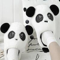 Women Fur Slippers Home Large Size 53 55 Suede Cute Flat Slippers Woman PVC Panda Pattern Winter Slippers Women