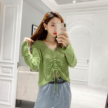 Casual New 2020 Sweater Knitted Loose Hollow Sexy avocado Green Short Knitted Sweater Lace up Long Sleeve Pullover Sweater 501D lace up slit asymmetric sweater