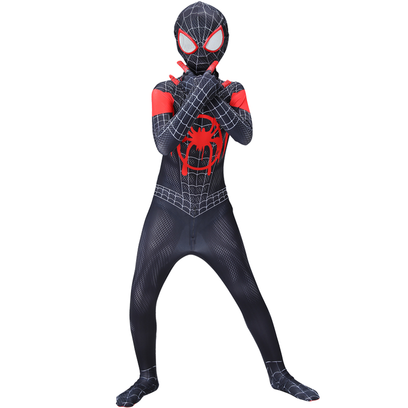 spider costueme man fantasia miles morales zentai costumes white Man For kids Cosplay Suit Red And Black Adult Men's boy costume 2