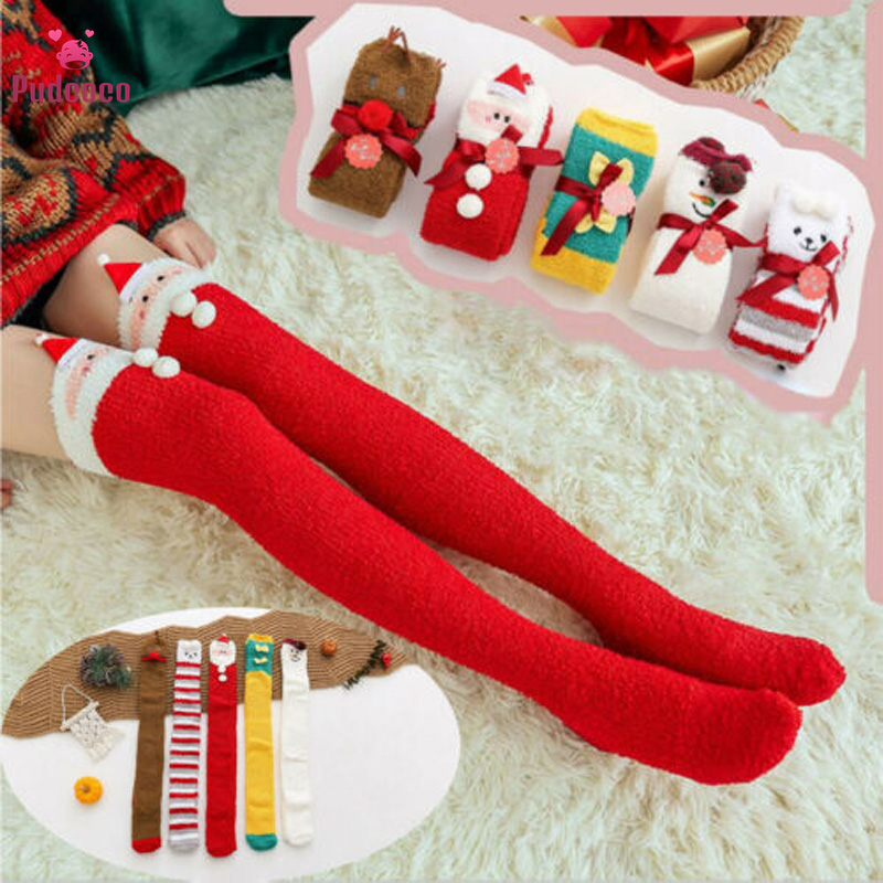Pudcoco Winter Warm Women Stockings Casual Christmas Cartoon Long Over The Socks Female Knee Socks Carnival Novelty Xmas Gift
