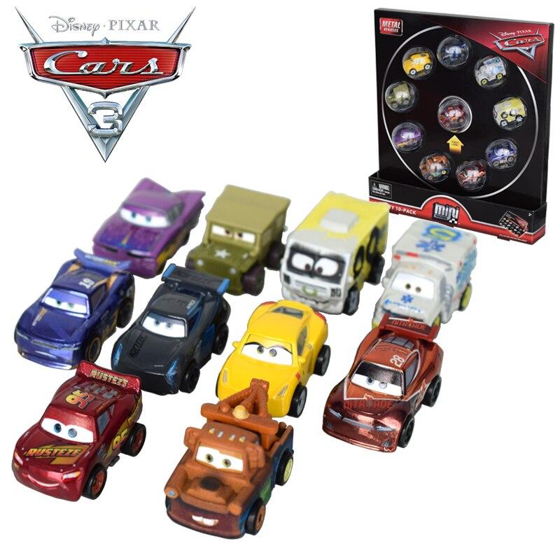 10 adet/takım orijinal Disney Pixar arabalar 3 Mini Metal Diecasts oyuncak araçlar yıldırım McQueen siyah fırtına Jackson oyuncak arabalar FLG72