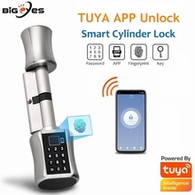 TUYA APP Unlock Smart Door lock Cylinder Finger Print Door Lock Password Door Lock Bluetooth Smart Lock Electronic Cylinder