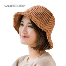 HANGYUNXUANHAO 2019 Autumn Winter Women's Knitted Hats Bucket Fashion Warm Thick Folding Knitting Hats Casual Caps