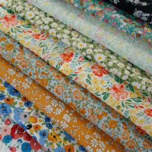 140x50cm 60s Summer Thin Transparent Soft Floral Combed Cotton Fabric Making Dress Garment Material DIY Cloth