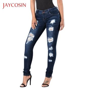 Jaycosin dżinsy damskie elastyczna kieszeń na suwak spodnie z dziurą obcisłe dżinsy rurki kobieta dorywczo dżinsy dla mamy femme jeans mujer 2019 87 tanie i dobre opinie Poliester Pełnej długości jeans woman 2019 Na co dzień Plaid Wysoka Przycisk fly Hollow out HOLE Kieszenie Ołówek spodnie