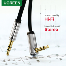 Ugreen 3.5mm 오디오 케이블 Aux Hi-Fi 스테레오 남성 90도 3.5mm 잭 스피커 케이블 JBL 자동차 PC 샤오미 보조 코드