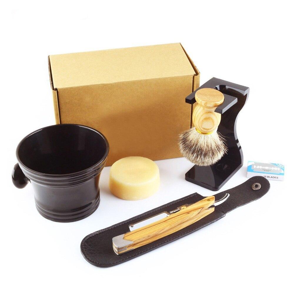 7Pcs/Set Shaving Set Solid Olive Wood Handle Straight Razor Shaving Knife,Silvertip Badger Brush,Stand,Resin bowl,Soap,Blades