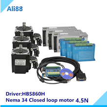 Free shipping 3axis/4axis closed loop stepper Kit:Nema 34 Stepper Motor 4.5N.m+Servo