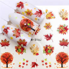 YWK 1 Sheet Maple / Feather / Flower Water Transfer Nail Sticker Decals Beauty Decoration Designs DIY Color Tattoo Tip