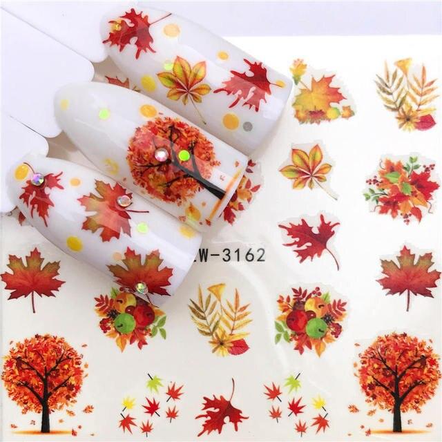 YWK 1 sac akçaağaç/tüy/çiçek su transferi tırnak Sticker çıkartmaları güzellik dekorasyon tasarımları DIY renk dövme ucu