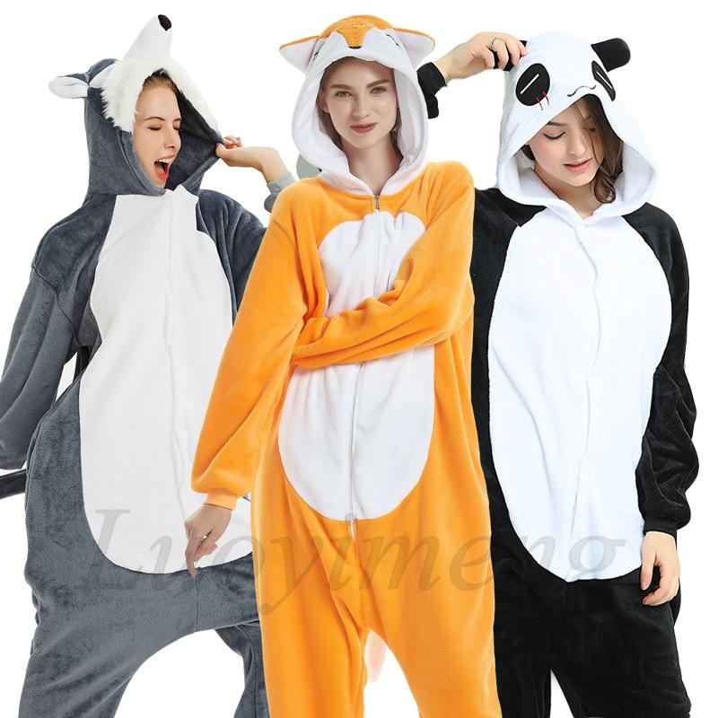 New Animal Unicorn Pajamas Adults Winter Sleepwear Kigurumi Wolf Panda Unicornio Pyjamas Women Onesie Anime Costumes Jumpsuit