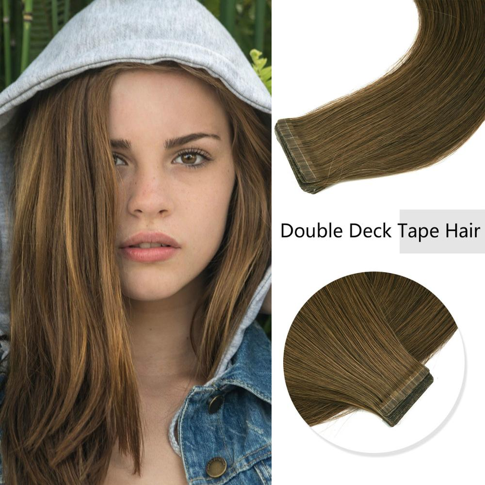 K.S WIGS 20'' 2.5g/pc Double-Deck Remy Tape In Hair Straight Double Drawn Cuticle Skin Weft Natural Human Hair Extensions