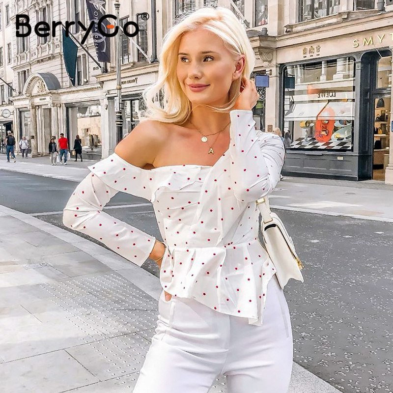 BerryGo Sexy Ruffle White Polka Dot Women Cotton Blouse Asymmetrical One Shoulder Blouses Shirts High Street Party Tops Female