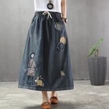 Spring Summer Arts Style Women Elastic Waist Loose A line Long Skirts Patchwork Embroidery Cartoon Vintage Denim Skirt M118