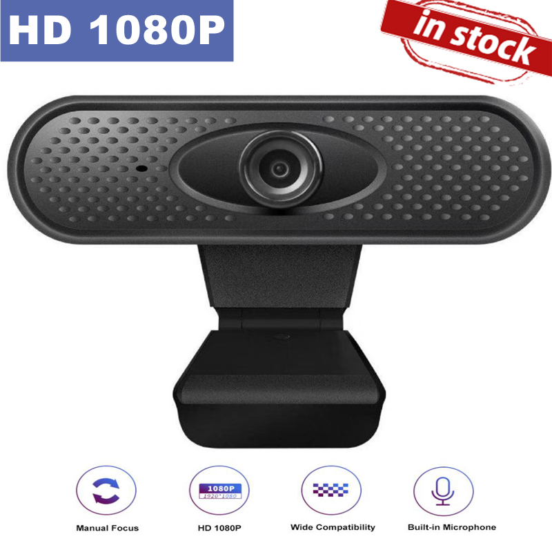 BALLEEN.E HD 1080P USB Webcam Camera Computer 2M Pixels Web Cam Built-in Online Microphone For PC Laptop Conference Manual Focus